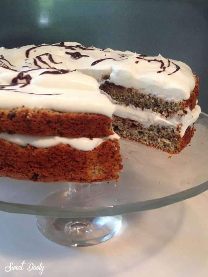 עוגת פרג עם שוקולד וקצפת