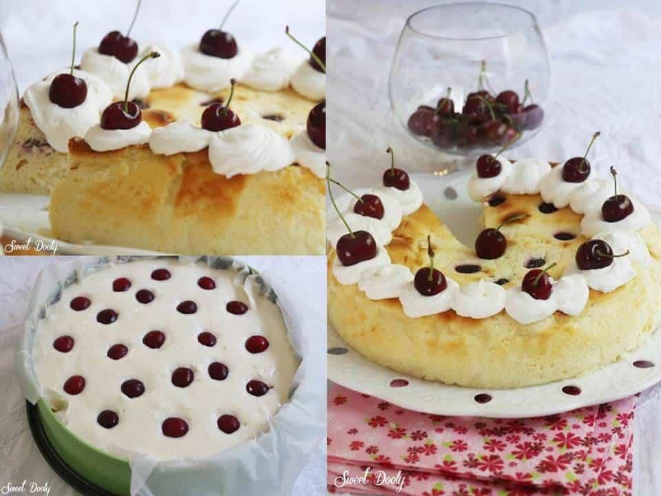 עוגת גבינה עם דובדבנים