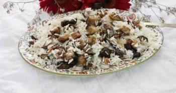 אורז עם חצילים מטוגנים