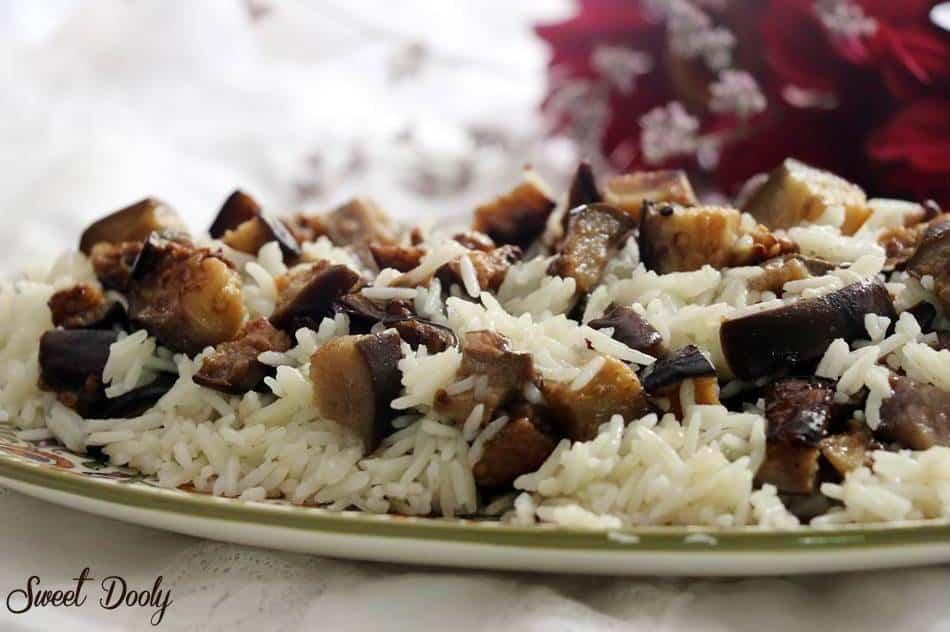 אורז עם חצילים מטוגנים1