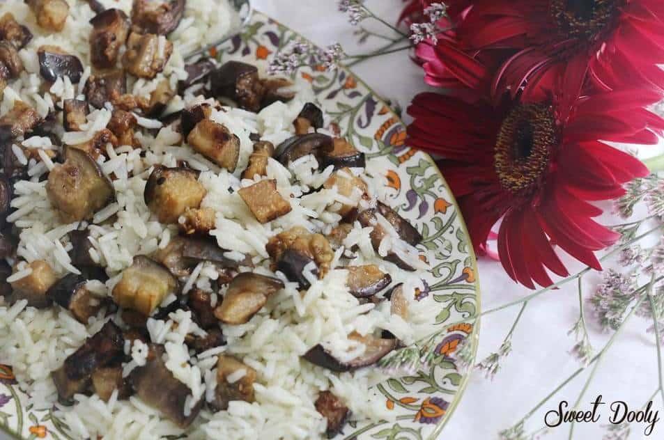אורז עם חצילים מטוגנים2