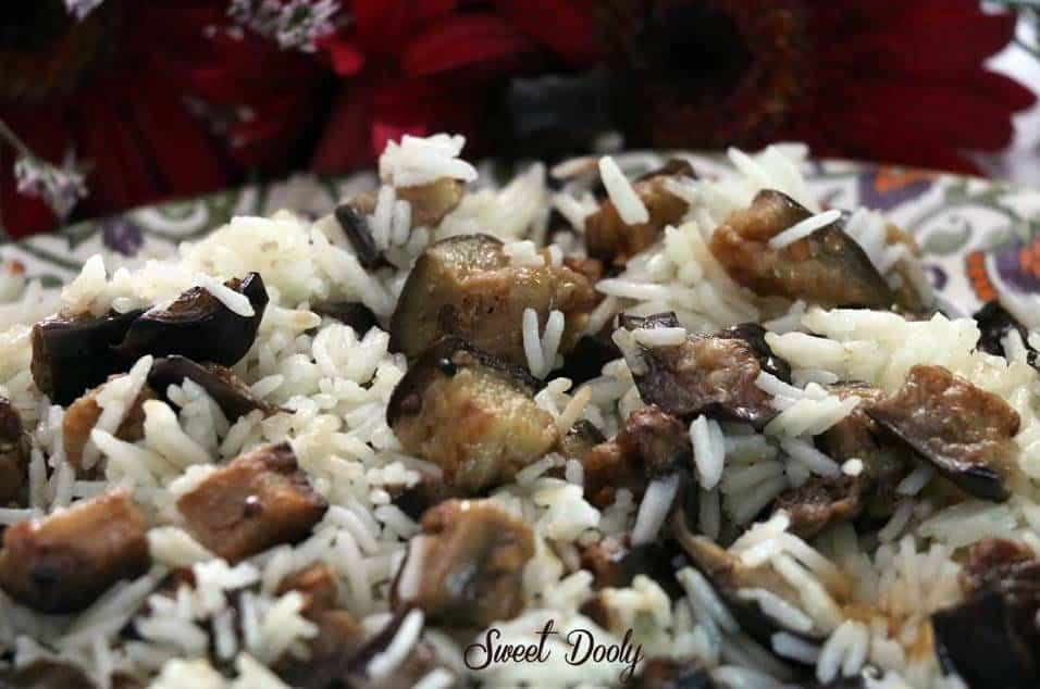אורז עם חצילים מטוגנים3