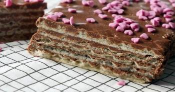 עוגת וופלים שוקולד וחלבה