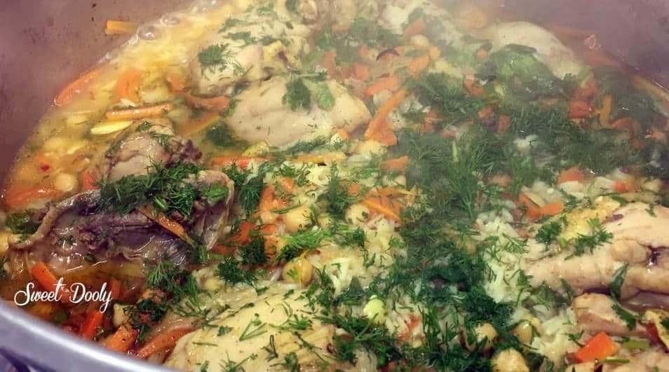 אושפלו עוף עם אורז וירקות