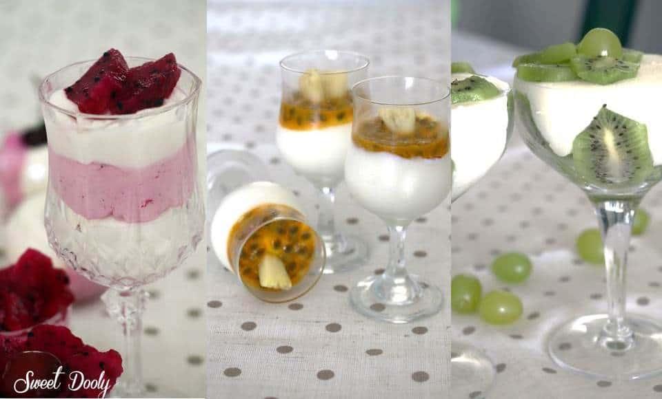 קינוחי כוסות אישיים מוס גבינה בשלושה צבעים
