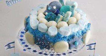 עוגה ליום העצמאות ה-70 עוגת ממתקים בכחול לבן