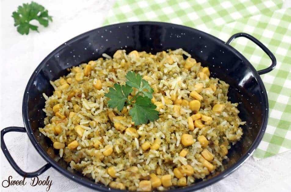 מתכון לאורז ירוק מוקפץ עם תירס