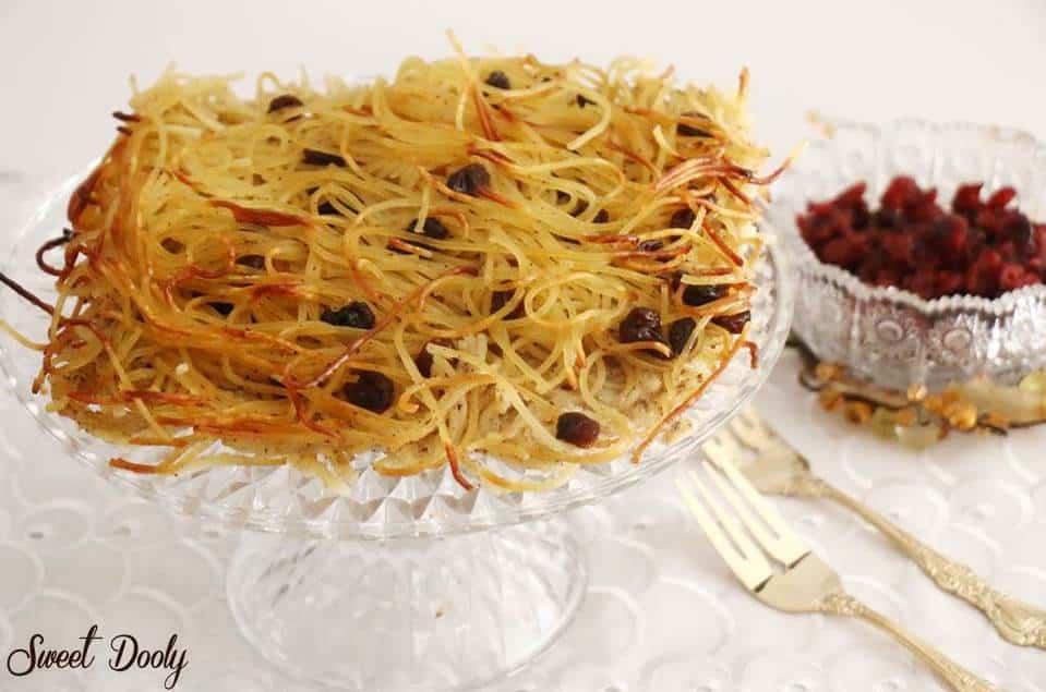 קיגל פשטידת אטריות מתוקה עם צימוקים וקינמון