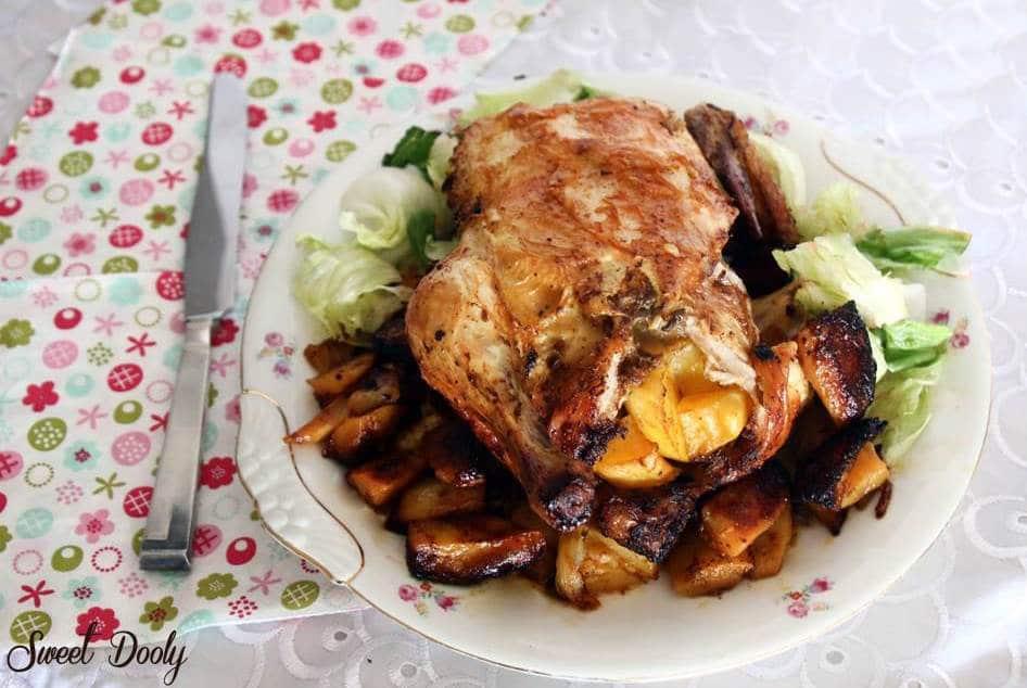 עוף ממולא בתפוחי אדמה בתנור