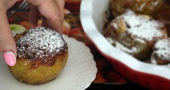 תפוחים אפויים ממולאים בעוגת דבש בתנור