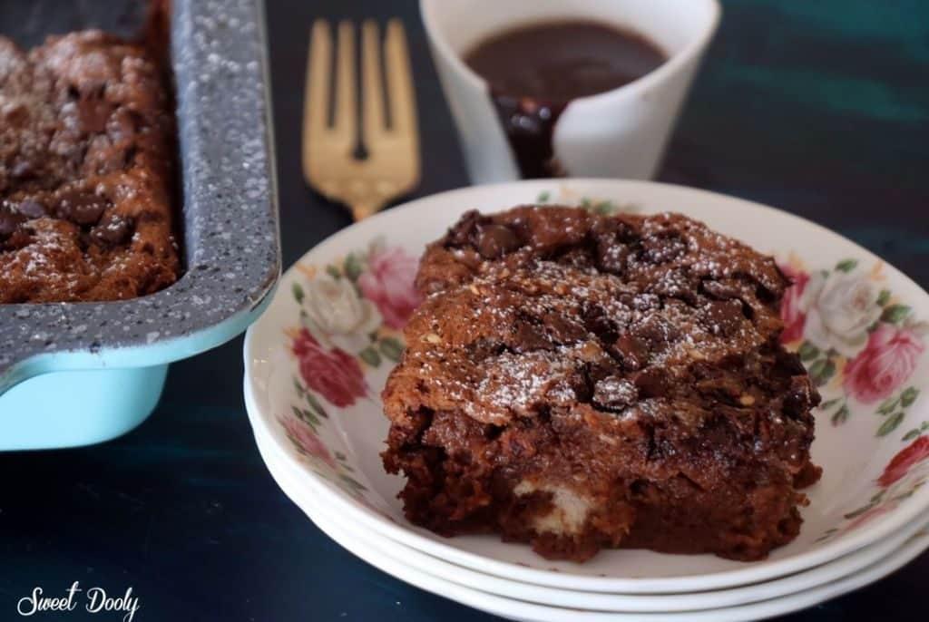 לחם פודינג עם שוקולד