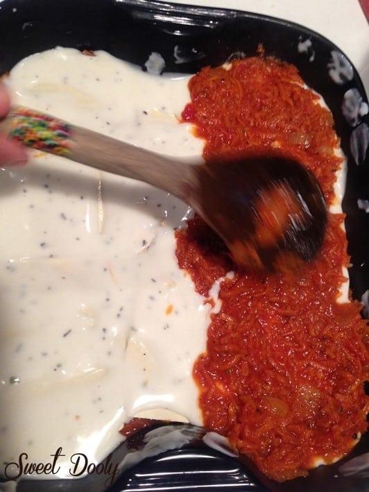 לזניית גזר ברוטב עגבניות ובשמל