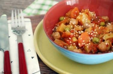 תבשיל ירקות עם חומוס