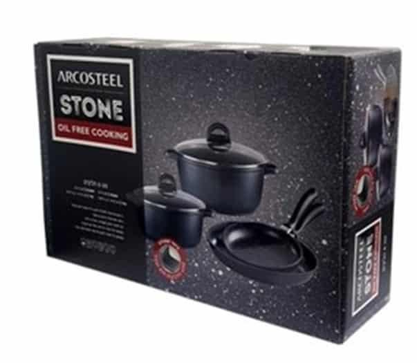 סט סירים 6 חלקים למטבח דגם STONE הכולל זוג סירים עם מכסים וזוג מחבתות ARCOSTEEL