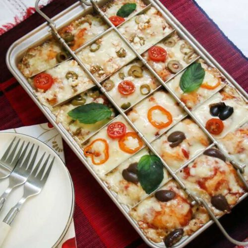 פיצה ללא התפחה בתבנית מחולקת