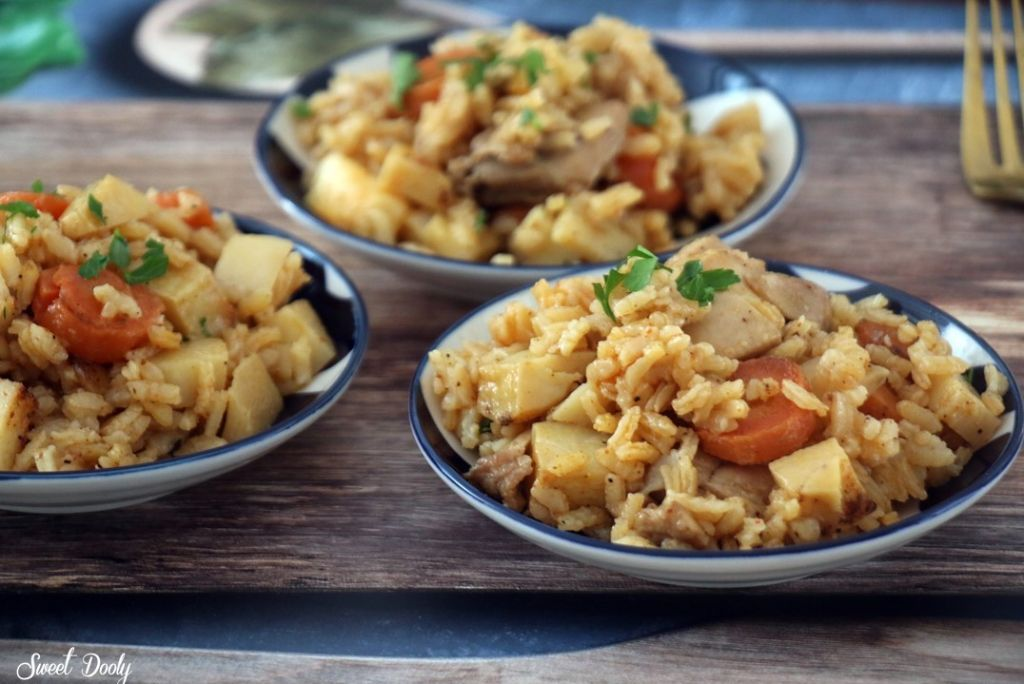 פרגיות אורז וירקות בסיר אחד
